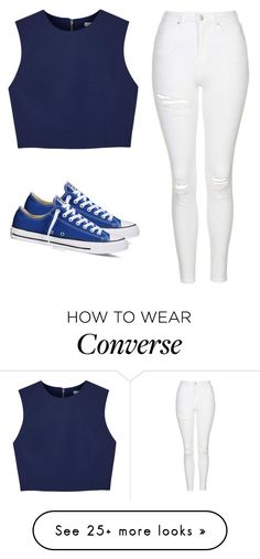 """Simple white jeans with a simple blue top"" by melw44 on Polyvore featuring Alice + Olivia, Topshop and Converse"