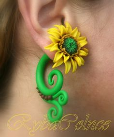 Fake, but still super cute.. Fake ear  gauge The Flowers Sunflower by RybaColnce on Etsy