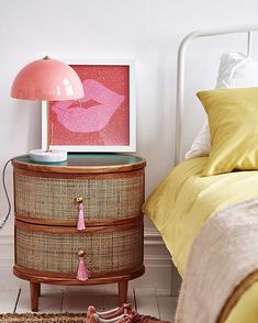 Kinship Rattan Green Bedside Table - Lilly is Love Pink Bedside Tables, Upcycle Bedside Table, Bedside Table Styling, Bedside Table Decor, Nightstand, Interior Desing, Storage Spaces, Home Furnishings, Home Furniture