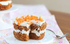 This carrot cake is healthy and delicious. Even better, it doesn't take many ingredients to whip up the mini masterpiece in just a couple minutes. Grab the recipe from Chocolate Covered Kate.
