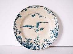French Vintage blue and white ironstone seashell floral with seagull staffordshire flow blue delph blue blue willow l