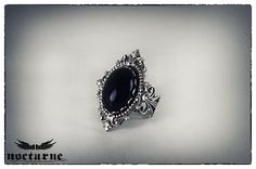 Black Onyx Stone Victorian Ring  Silver by NocturneHandcrafts, €30.00