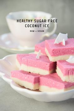 This Healthy Sugar Free Coconut Ice is entirely vegan, coloured naturally with a little fresh beet powder. Raw. Dairy Free. Gluten Free.