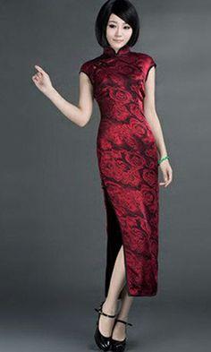 Red rose floral black silk qipao mandarin collar cheongsam dress | www.ModernQipao.com | Asian gift and apparel giveaways http://asianwesternromance.com/contest/