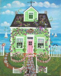 Folk Art Prints   Clematis Cottage Folk Art Print by KimsCottageArt on Etsy