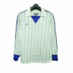 「vintage adidas Made in France Stripe game shirt (ヴィンテージアディダス フランス製 ストライプゲームシャツ) サッカー 057709」の商品情報やレビューなど。
