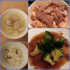 自製粉蒸排骨、汆燙花椰菜、芋頭香菇飯、貢丸排骨湯。第一次做粉蒸排骨,意外成功呀 (ノ^_^)ノ