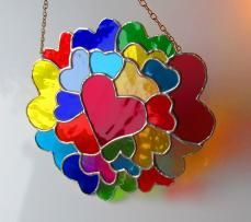 "Stained Glass ""Circle of Hearts"