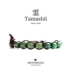 Tamashii - Bracciale Tradizionale Tibetano realizzato con pietre naturali AGATA LACE VERDE