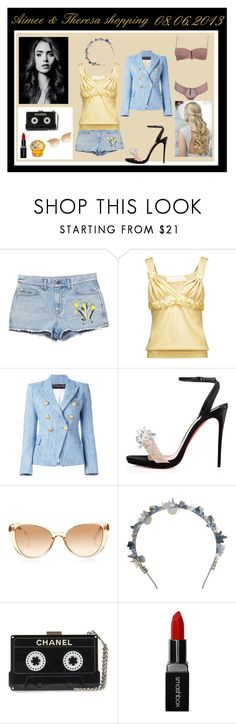 """""""Shopping with Aimee in Wien - Theresa"""" by miss-golden-dreamer on Polyvore featuring Mode, Gucci, Dessous, Valentino, Balmain, Christian Louboutin, Linda Farrow, Eugenia Kim, Smashbox und House of Sillage"""