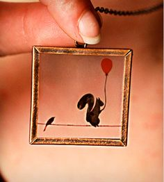 Squirrel On A Wire Necklace