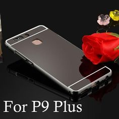 For Huawei Ascend P8 P9 2 in 1 Case Top Metal Alloy Frame + Smooth Mirror Back Cover Case for Huawei P8 Lite P9 Lite Phone Case