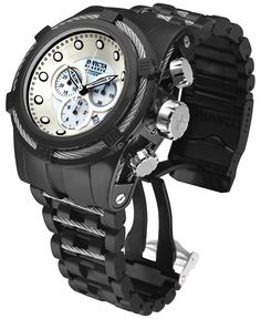 Invicta Men's Swiss Chronograph Bolt Zeus Black Ion-Plated Stainless Steel Bracelet Watch 53mm 12752