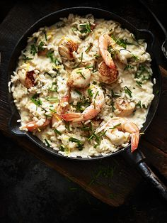 This recipe for scallop and prawn risotto is easy to make but looks and tastes impressive.