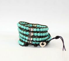 Classical Turquoise Bead Weaving Leather Wrap Stretch Skull Bracelets