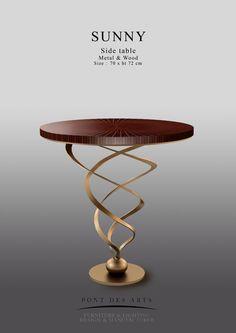 Sunny table - Brass And Wood - Pont des Arts - Designer Monzer Hammoud - Paris Art Furniture, Steel Furniture, Luxury Furniture, Modern Furniture, Coffee Table Plants, Decoration, Side Tables, Paris Design, Penthouses