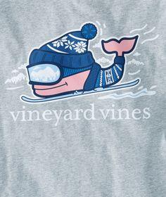 Long-Sleeve Downhill Ski Whale Pocket T-Shirt