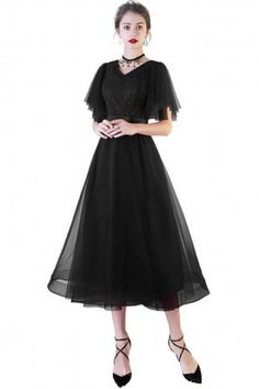Shop Black Tea Length Party Dress Tulle with Puffy Sleeves online. SheProm offers formal, party, casual & more style dresses to fit your special occasions. Black Tea Dresses, Black Tulle Dress, Black Wedding Dresses, Lace Dress, Short Dresses, Dance Dresses, Prom Dresses, Roaring 20s Fashion, Look Girl