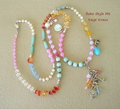 Multi Gemstone Luxe Necklace Mixed Bead Gypsy Necklace, Sundance Style Necklace, Boho Style Me, Kaye Kraus