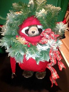 """Apple Whimsey Raccoon  """"Happy Holly Days"""" 1990 No 12 of 200 #AppleWhimsey"""