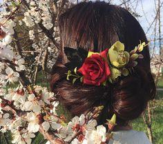 Floral hair comb boho hair comb flower wedding hair barrette