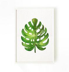 Palma acuarela hoja arte conjunto de 3 botánica arte de hoja