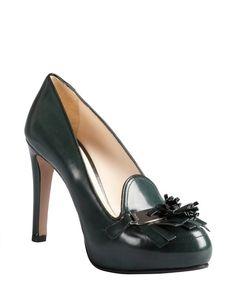 Prada pine green leather fringe tassel platform loafer pumps