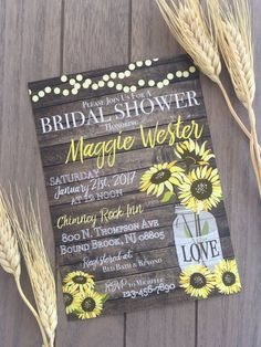 Bridal Shower invite: Rustic Sunflowers - Beautiful rustic style with the elegance of a wedding. Invite your guests to the bridal shower they - Yellow Bridal Showers, White Bridal Shower, Bridal Shower Tables, Bridal Shower Rustic, Bridal Shower Favors, Bridal Shower Decorations, Bridal Shower Invitations, Brunch Invitations, Wedding Showers
