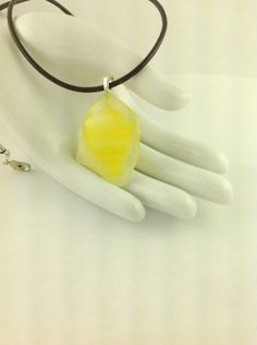 Fused Glass Yellow Abstract Pendant Leather Cord Necklace      Hand Crafted Jewelry