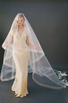 "2"" Horsehair Veil Cathedral Veil, Horse Hair Edge, Drop Veil, Circle Simple Bridal Veil, Wedding Veil, Champagne Veil, Bridal Veil #1203-2"""