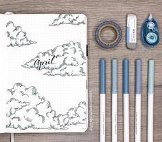 cloud themed bullet journal for April! by @amandarachdoodles on Instagram