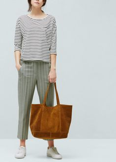 Leather shopper bag - Bags for Women | MANGO USA