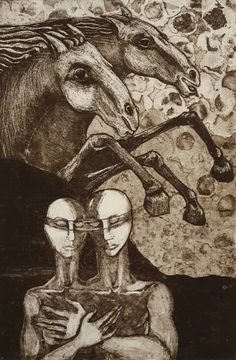 """Rhona Gorvy / one off etching / """"Lovers & Horse's"""""""