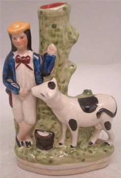 Staffordshire Pottery Figure - Milk Boy & Cow Spill Vase