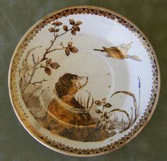 Antique Staffordshire dog plate
