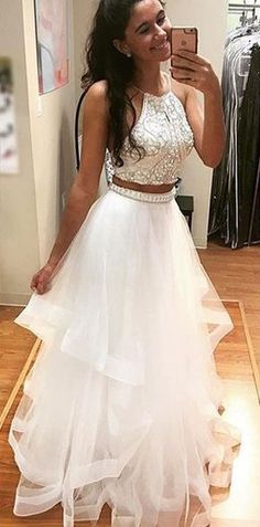 Beading A-line Tulle Two Pieces Prom Dresses