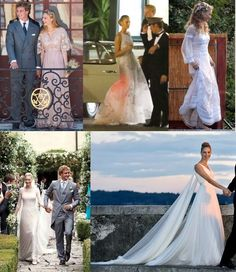 Beatrice Borromeo's gowns at her Civil, July 25, 2015 and Religious, August 1, 2015, Weddings-Civil Wedding-Lavender gown by Valentino; Civil Wedding Reception-silver gown by Valentino; Pre-Religious Wedding Event-lace boho gown by Alberta Ferretti; Religious Wedding gown-fern lace gown by Giorgio Armani Privé; Religious Wedding Reception-silk chiffon gown by Giorgio Armani Privé