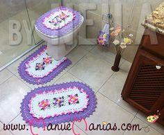 Jogo de Banheiro Rosa e Lilás – 4 peças | Manu e Manias