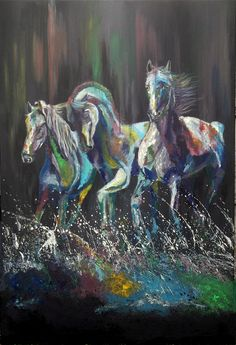 """Mustangs in the Surf By Helen Leigh  Abstract Expressionist-Drip Painting (style)  Materials:  Acrylic and Metallic Paint on Canvas  LARGE 90cm x 60cm x 3.5cm (24"""" x 36"""") - Exhibition Grade Canvas."""