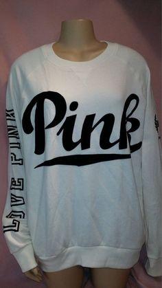 Victoria's Secret Love PINK Black White Oversized Sweatshirt Hoodie M Solid #VictoriasSecret #SweatshirtCrew