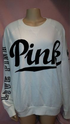 Victoria's Secret Love PINK Black White Oversized Sweatshirt Hoodie M Solid #VictoriasSecret #SweatshirtCrew