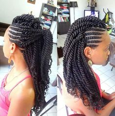 Side Cornrows + Kinky Twists Style