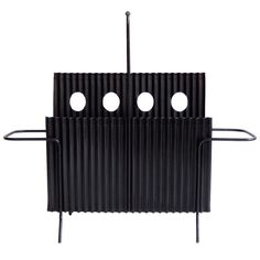"""Mathieu Mategot Mid-Century, """"Java"""" Magazine Holder in brass, corrugated and perforated, painted steel, ca.1954"""