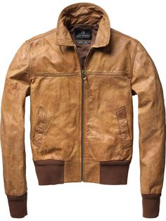 Scotch & Soda Short Leather Bomber Jacket.