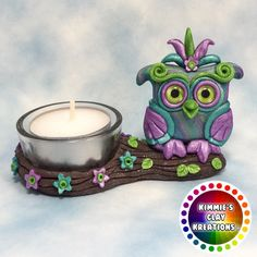 2016/06/05 Polymer Clay Owl Tea Light Candle Holder - Cake Toppers, Jewelry Pendants, Ornaments, Figurines, Characters, Sculptures, Miniatures - Cute Collectible Whimsical - Kimmie's Clay Kreations