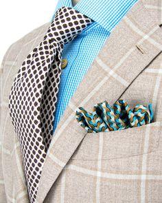 Kiton | Beige Plaid Sportcoat | Apparel | Men's