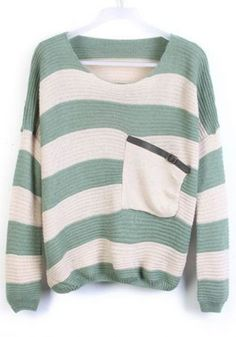 Light Green Striped Cap Sleeve Loose Wool Pullover