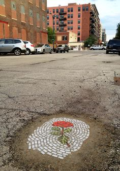 Guerrilla Artist Fills Chicago Potholes With Flower Mosaics