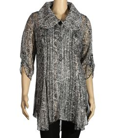 Another great find on #zulily! Black Floral Ruffle Tunic - Women & Plus by Seven Karat #zulilyfinds