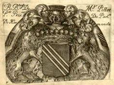 """Ex-libris de Claude Pellot (1619-1683), maître des requêtes, intendant dans diverses généralités du Sud-Ouest (1656-1670). """"De sable à une tierce en bande d'or""""."""